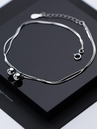 925 Sterling Silver With Platinum Plated Simplistic Light bead Pendant Anklets