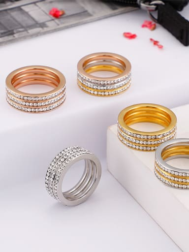 Stainless Steel With Rhinestone Trendy Band Rings