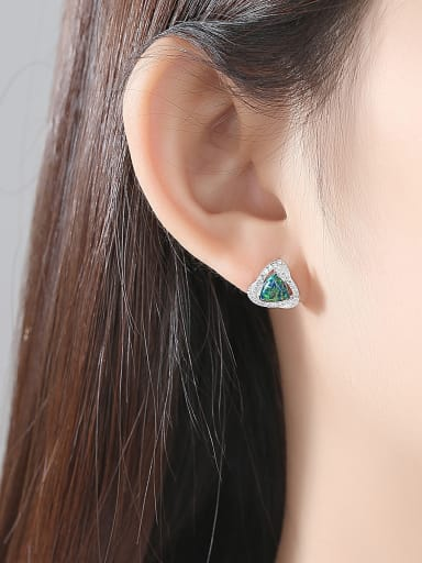 925 Sterling Silver With   Classic Multicolor Triangle Stud Earrings