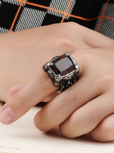 Punk style Exaggerated Ruby Stone Titanium Men Ring