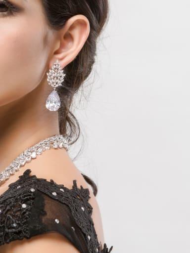 Copper With  Cubic Zirconia Luxury Water Drop Party Stud Earrings