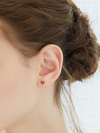 Tiny Heart Red Zircon 925 Silver Stud Earrings