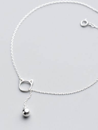 925 Sterling Silver With Platinum Plated Cute Cat Bell Anklets