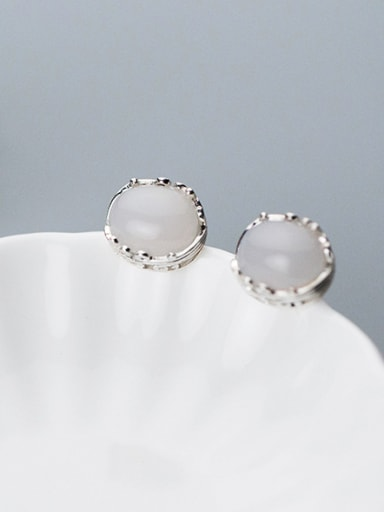 Temperament Pink Round Shaped Stone S925 Silver Stud Earrings