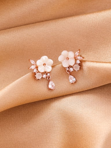 Alloy With Platinum Plated Cute Acrylic Flower Stud Earrings