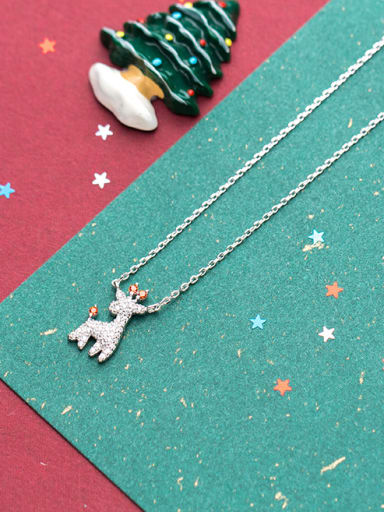 All-match Deer Shaped Shimmering Rhinestone Silver Necklace