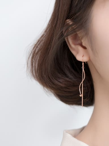925 Sterling Silver With Rose Gold Plated Trendy Chain Threader Earrings