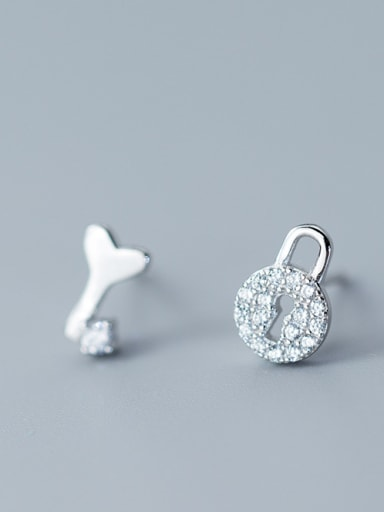 Sterling Silver micro-inlay zricon sweet key lock asymmetrical studs