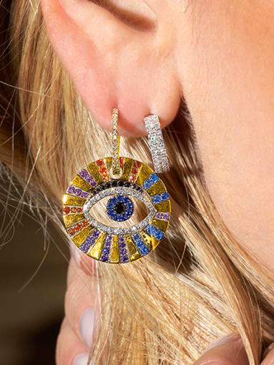Copper With Gold Plated Classic Asymmetry  Evil Eye Cluster Earrings