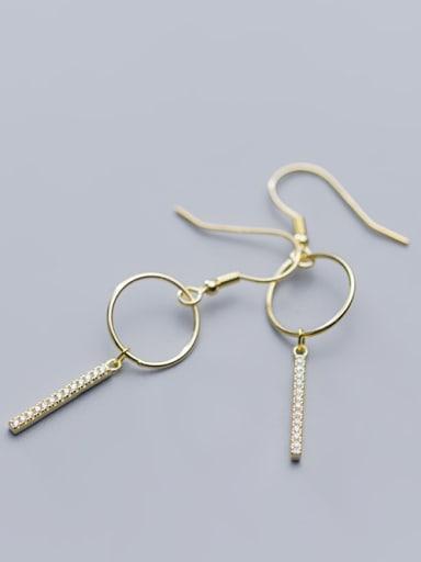 925 Sterling Silver With Cubic Zirconia Simplistic Fringe Hook Earrings