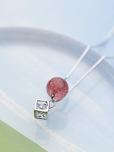 Temperament Square Shaped Pink Crystal S925 Silver Necklace