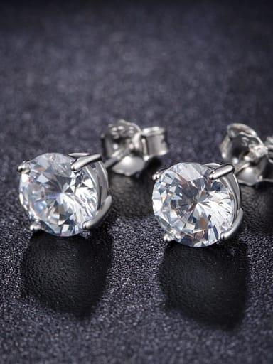 Shining AAA Zircons Elegant Silver Stud Earrings