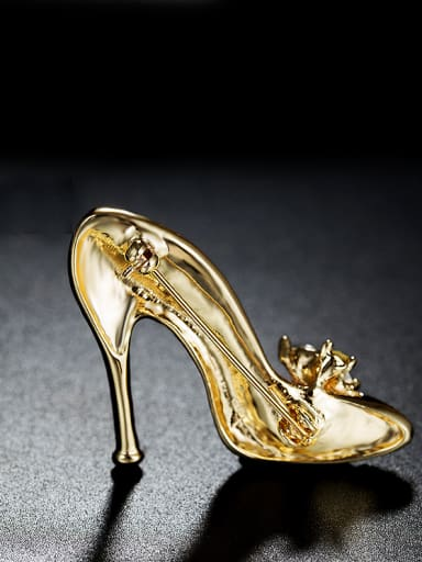 Gold Plated High-heeled Shoes Brooch