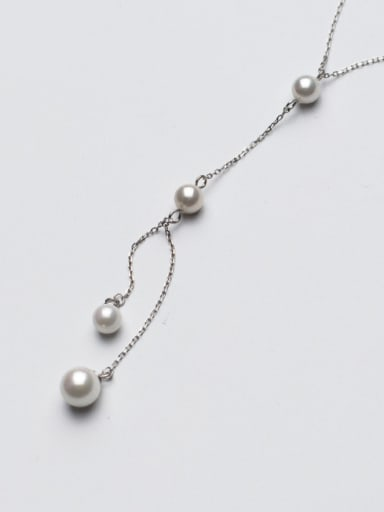 Temperament Geometric Shaped Artificial Pearl Sweater Chain