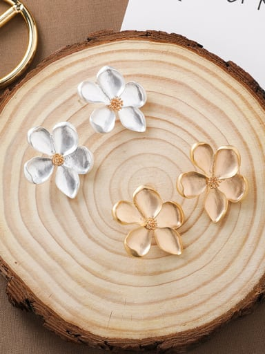 Alloy With Smooth Simplistic Flower Stud Earrings