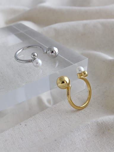 925 Sterling Silver With  Artificial Pearl Simplistic Round Free Size Rings