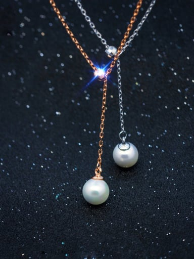 S925 Silver single pearl fashion necklace