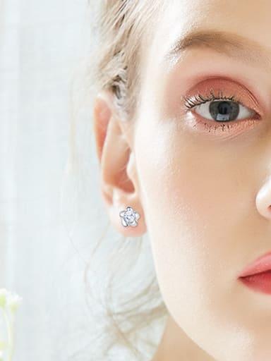 Tiny Flower Cubic Zircon 925 Silver Stud Earrings