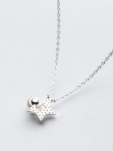 Elegant Star Shaped Artificial Pearl S925 Silver Necklace
