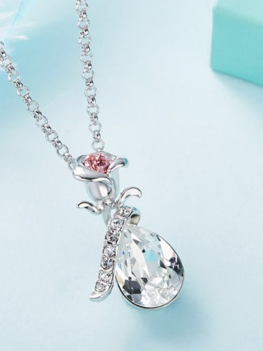 Fashion Rosary Flower Water Drop Swarovski Crystal Copper Pendant
