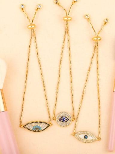 Copper With Color Cubic Zirconia Fashion Evil Eye Bracelets