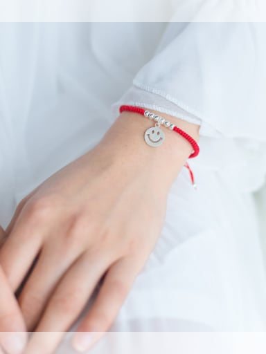 sterling silver smile woven red thread bracelet