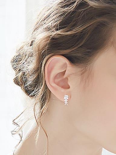 Personalized Marquise Zirconias Fish Bone 925 Silver Stud Earrings