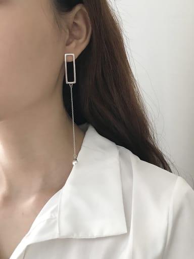 Sterling silver minimalist asymmetrical synthetic pearl earrings