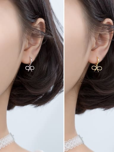 925 Sterling Silver With Glossy  Fashion Bowknot Clip On Earrings