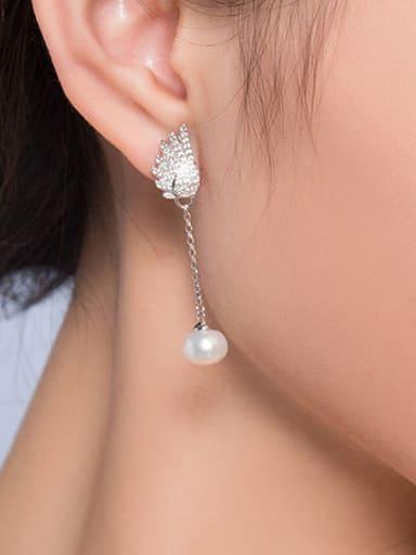 Angle Wings Zircon Freshwater Pearl Stud threader earring