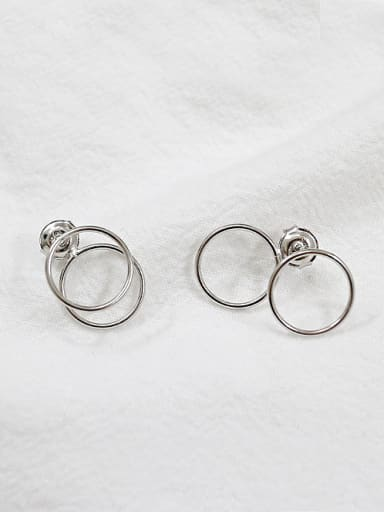 Simple Double Hollow Round Silver Stud Earrings