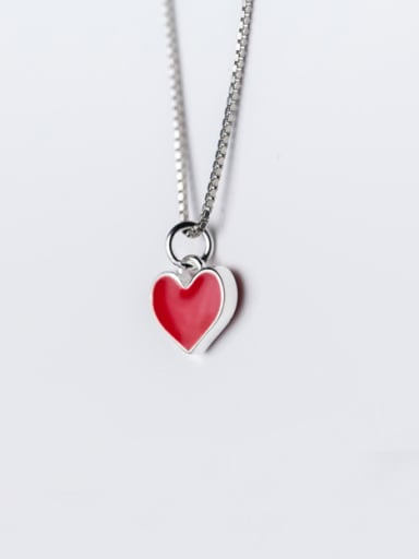 Lovely Red Heart Shaped S925 Silver Glue Pendant