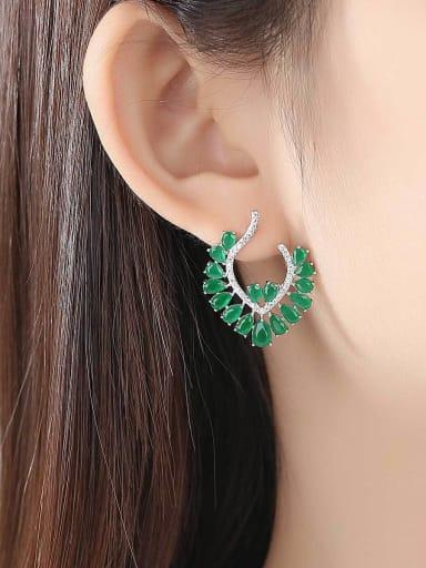 Copper inlaid 3A zircon shiny Earrings