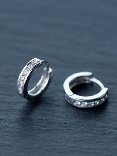 Couples Geometric Shaped Rhinestones S925 Silver Clip Earrings