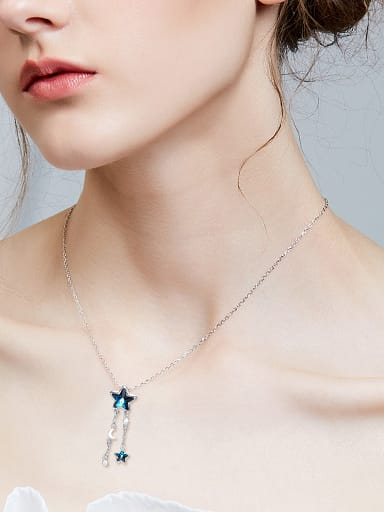 Fashion Blue Star Swarovski Crystals Copper Pendant