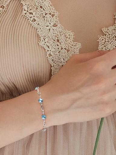Simple Flowery Swarovski Crystals Silver Bracelet