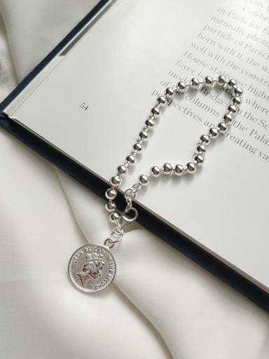 Sterling silver personality chain queen coin bead bracelet