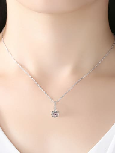 925 Sterling Silver With Platinum Plated Simplistic Flower Necklaces