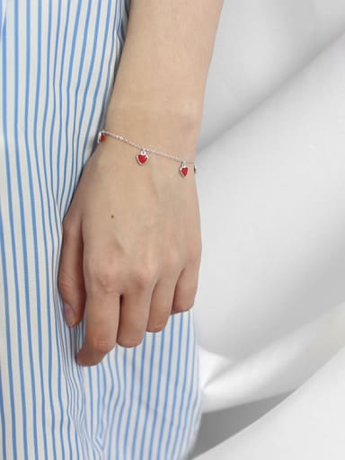 Fashion Little Red Hearts Silver Women Bracelet