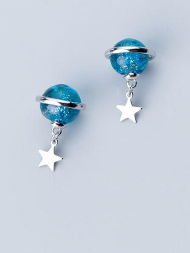 925 Sterling Silver With Platinum Plated Simplistic Pentagram  Earrings