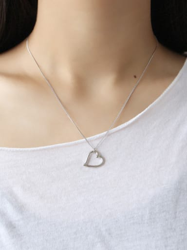Sterling silver  simple  hollow love  heart necklace