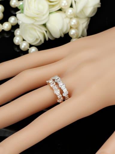 Hot Selling Shining Zircons Plating Women Copper Ring