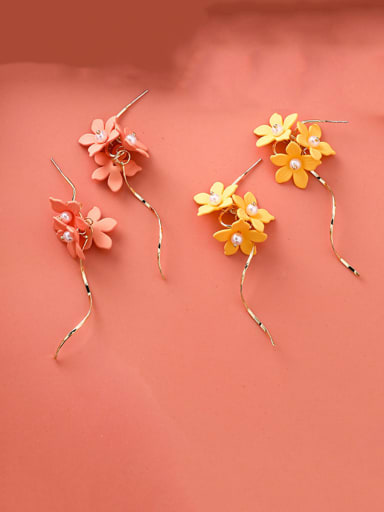 Alloy With Rose Gold Plated Bohemia Flower Wave Line Drop Earrings