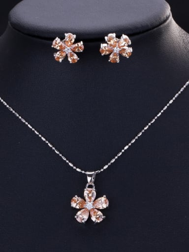 Classic flower Zircon Earrings Necklace set (multi color optional)