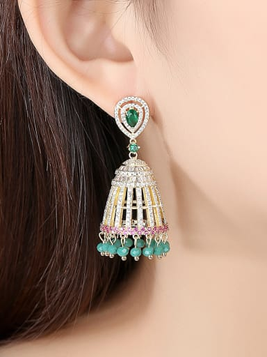 Copper With Gold Plated Ethnic Color Wind Chimes Chandelier Earrings
