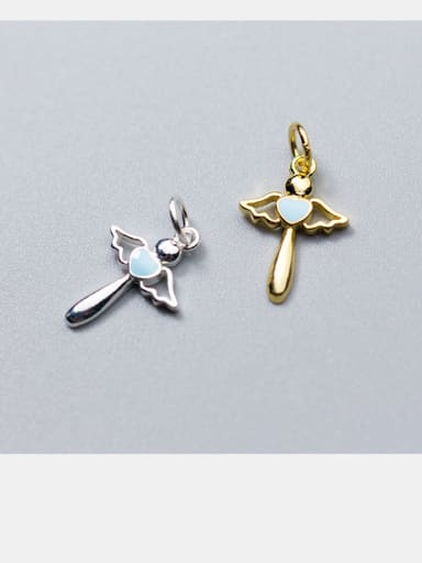 925 Sterling Silver With Gold Plated Simplistic Angel Charms