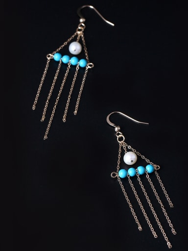 4K Gold Natural Pearl Tassel Drop Earrings