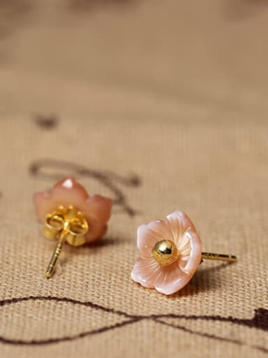 S925 Silver Shell Flower stud Earring