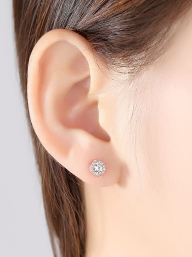 925 Sterling Silver With Rose Gold Plated Simplistic Geometric Stud Earrings