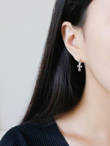 Sterling silver minimalist retro cross earrings